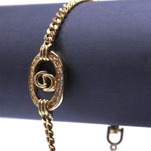 Christian Dior Gold Tone Crystal Accent Bracelet